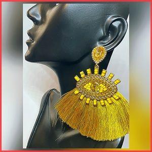 🏷 🆕 Mustard Yellow Evil Eye Tassel Earrings
